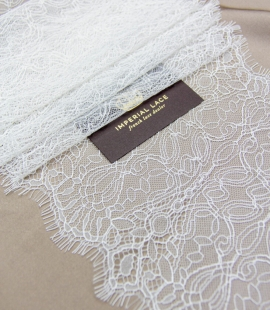 Ivory abstract pattern chantilly lace trim