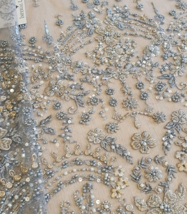Grey with gold thread embroidery fabric