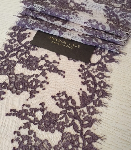 Dark lilac on light tulle floral pattern lace trimming