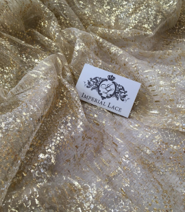 Gold corrugated tulle fabric