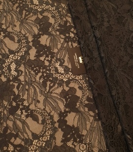 Greyish brown chantilly floral pattern lace fabric