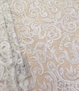 White Geometric Lace fabric