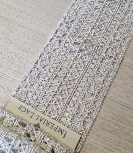 White with silver thread trimming