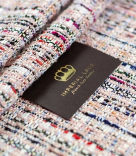 Pink with multicolor tweed fabric