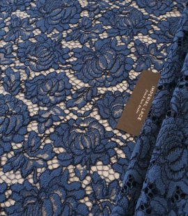 Dark blue cord thread lace fabric