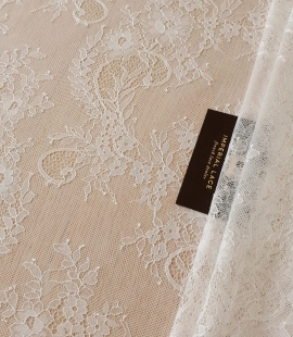 Ivory 70% polyester 30% cotton chantilly lace fabric
