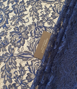 Dark marine blue chantilly natural lace fabric