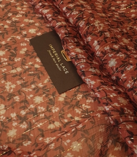 Brick color with floral pattern and gold thread 100% silk organza