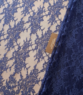 Blue 100% polyester floral chantilly lace fabric