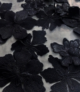 Black or white lace fabric with 3D flowers