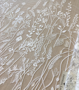 Ivory organic floral embroidery on tulle fabric