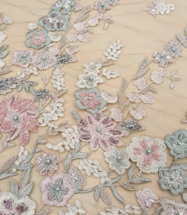 Multicolor beaded lace fabric