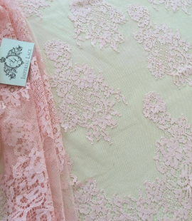 Pink lace fabric, French Lace