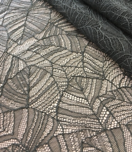 Dark green lace fabric