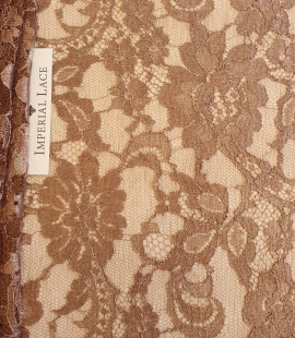 Brown viscose chantilly lace fabric