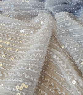 Light blue tulle with sequins and beads fabric