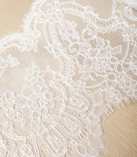 White chantilly cotton lace trimming by Jean Bracq