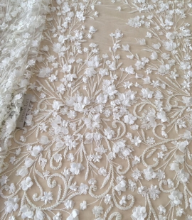 Ivory 3D beaded lace fabric