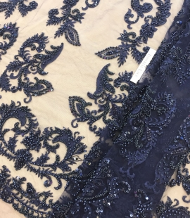Dark blue beaded lace