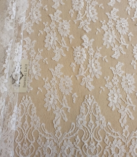 White chantilly lace fabric