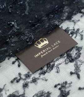 Bluish black hand beaded chantilly lace trim