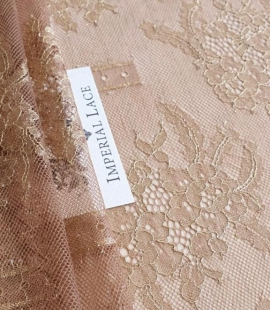 Brown with gold chantilly lace fabric