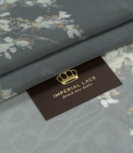 Gray with floral pattern crepe chiffon fabric