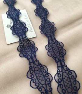 Blue Chantilly lace trim