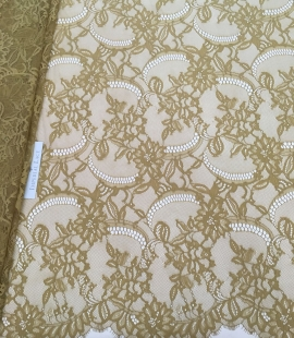 Khaki green lace fabric