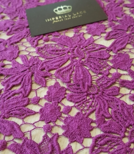 Lilac wool floral pattern macrame lace fabric