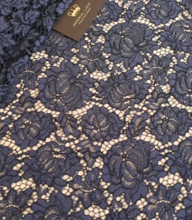 Bluish grey cotton polyester chantilly lace fabric