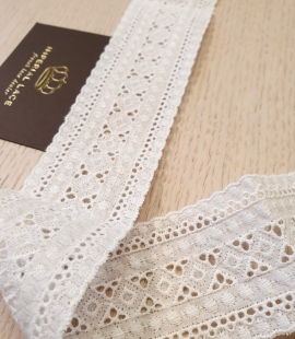 Off white cotton lace fabric