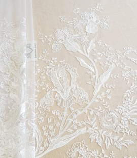 Imperial Lace floral organic embroidery on tulle fabric