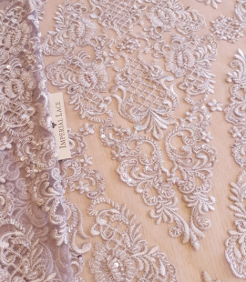 Greyish lilac beaded embroidery on tulle fabric