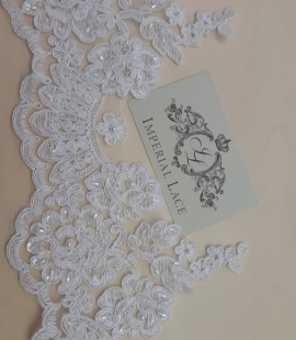 Bridal white Lace trim with beads