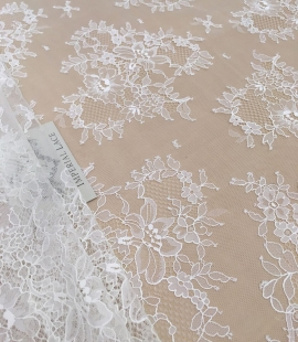 Off white chantilly floral lace fabric
