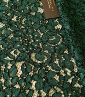 Green 70% cotton 30% polyester floral pattern guipure lace fabric