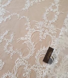 Ivory organic pattern beaded lace fabric