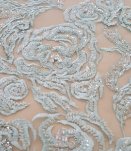 Light blue beaded lace