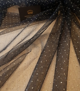 Black with gold dotted pattern tulle fabric