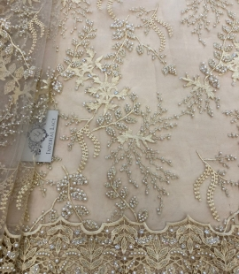 Beige beaded lace fabric