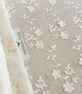 Ecru embroidery lace fabric