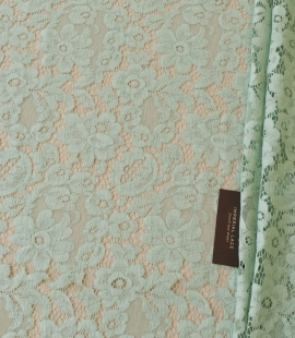 Mint green cotton guipure lace fabric