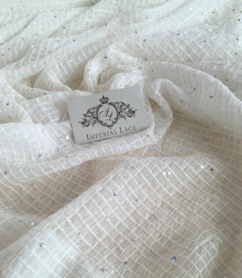 Ivory embroidery chiffon fabric with flitters