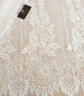 Ivory guipure with chantilly lace fabric