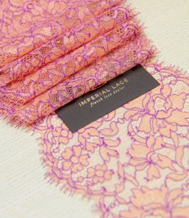 Orange with lilac floral pattern chantilly lace trim