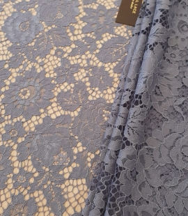Pale greyish blue 70% polyester 30% cotton guipure lace fabric