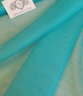 Turquoise silk tulle fabric