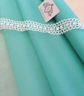 Mint green silk organza fabric