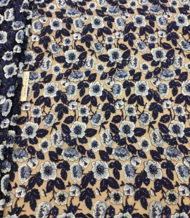 Blue beaded embroidery lace fabric